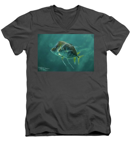Two In Turquoise Men's V-Neck T-Shirt