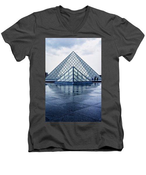 Two Louvre Pyramids Paris Men's V-Neck T-Shirt