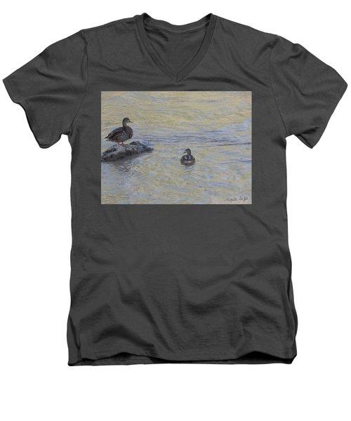 Two Mallard Ducks Men's V-Neck T-Shirt