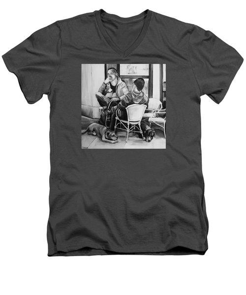 Two Men Two Dogs Men's V-Neck T-Shirt by Jean Cormier