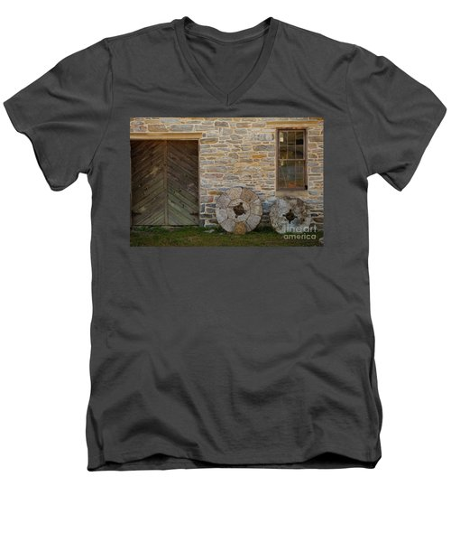 Two Mill Stones Against Building Men's V-Neck T-Shirt