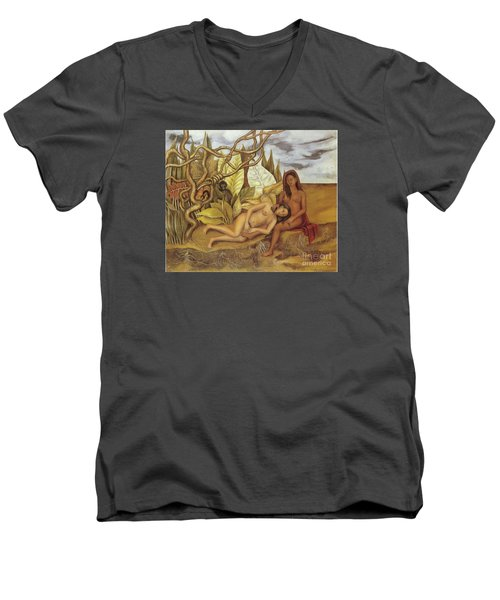 Two Nudes In The Forest Men's V-Neck T-Shirt by Frida Kahlo