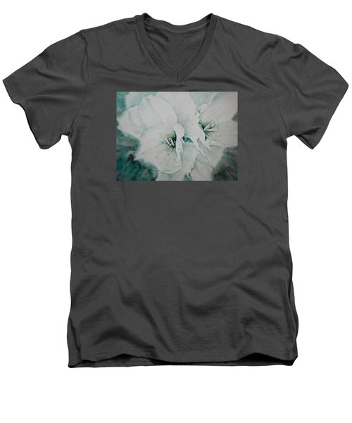 Men's V-Neck T-Shirt featuring the painting Two Of A Kind by Carolyn Rosenberger