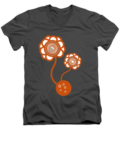 Men's V-Neck T-Shirt featuring the drawing Two Orange Flowers by Frank Tschakert