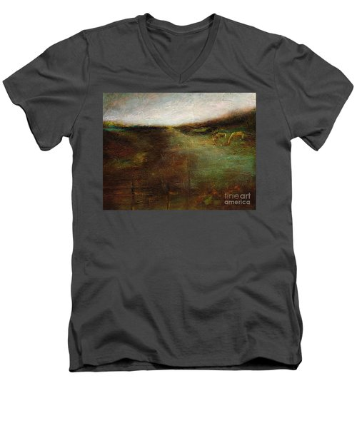 Men's V-Neck T-Shirt featuring the painting Two Palominos by Frances Marino