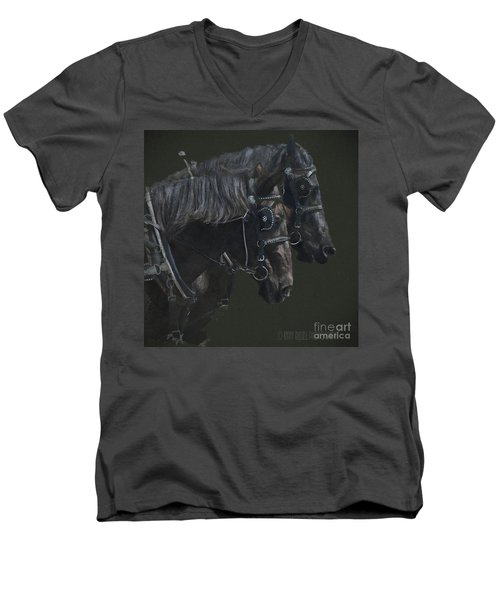 Two Percherons Men's V-Neck T-Shirt by Kathy Russell
