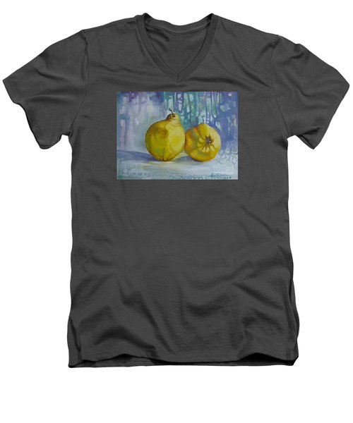 Men's V-Neck T-Shirt featuring the painting Two Quinces by Elena Oleniuc