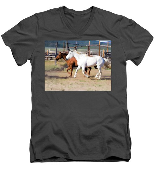 Two Ranch Horses Galloping Into The Corrals Men's V-Neck T-Shirt