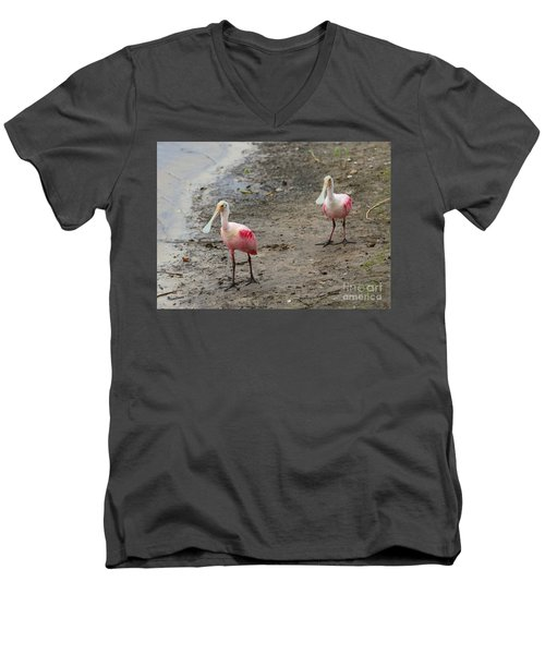Two Roseate Spoonbills 2 Men's V-Neck T-Shirt by Carol Groenen