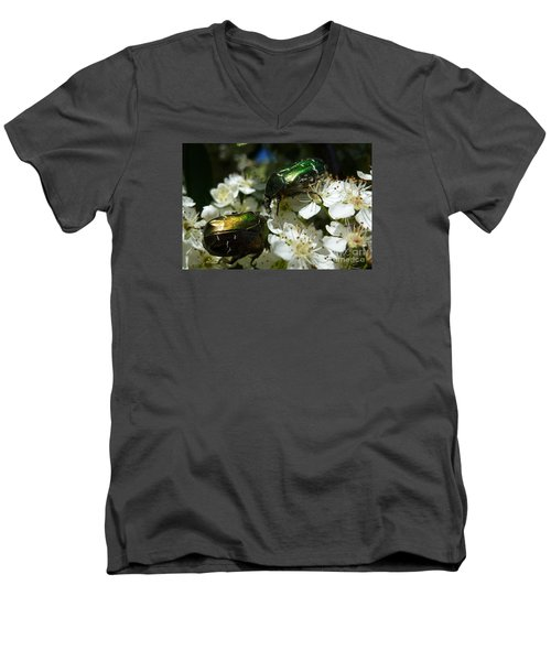 Men's V-Neck T-Shirt featuring the photograph Two Scarabs Metallic Green by Jean Bernard Roussilhe