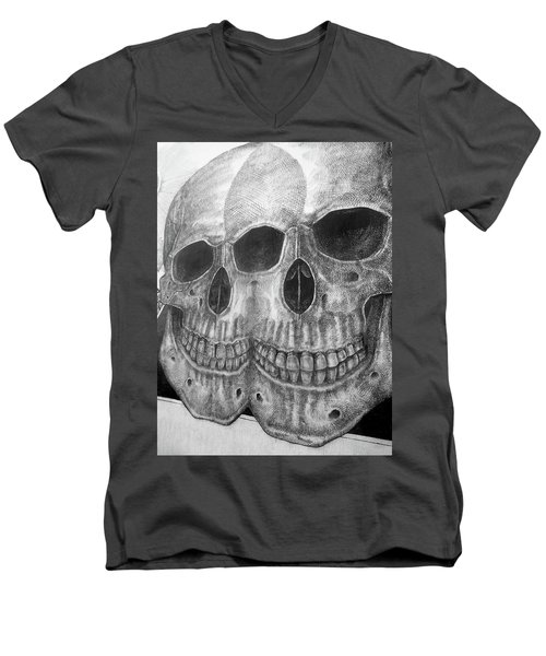 Men's V-Neck T-Shirt featuring the photograph Two Skulls ... by Juergen Weiss