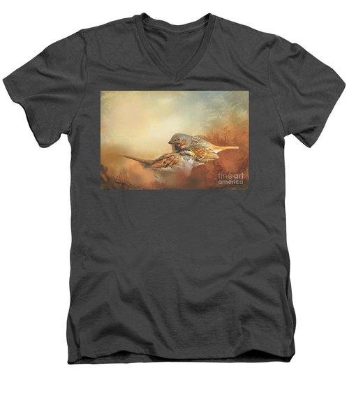 Sparrows In The Marsh 2 Men's V-Neck T-Shirt by Janette Boyd