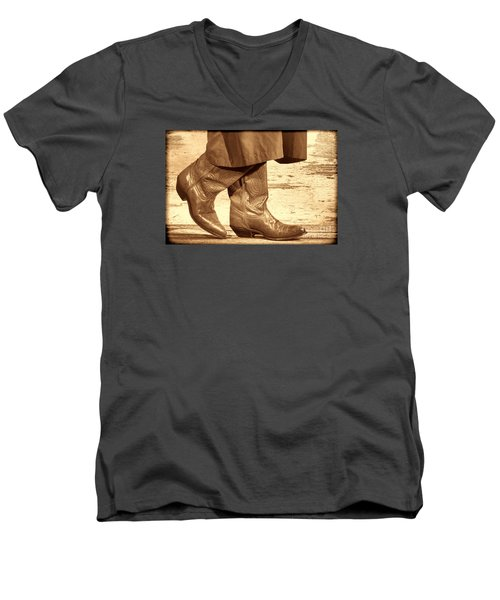 Two Step Men's V-Neck T-Shirt by American West Legend By Olivier Le Queinec