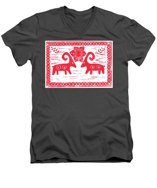 Two Swedish Yule Goats Men's V-Neck T-Shirt