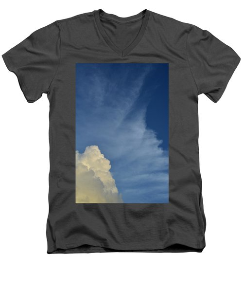 Two Tone Clouds 9384 Men's V-Neck T-Shirt