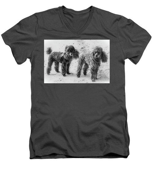 Two Toys B/w Men's V-Neck T-Shirt