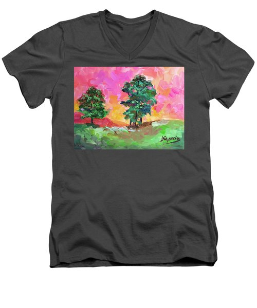 Two Trees Men's V-Neck T-Shirt by Janet Garcia