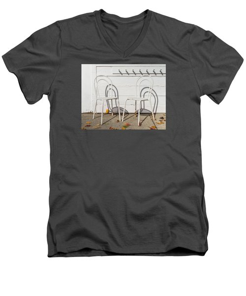 Men's V-Neck T-Shirt featuring the photograph Two White Chairs And Autumn Wind by Gary Slawsky