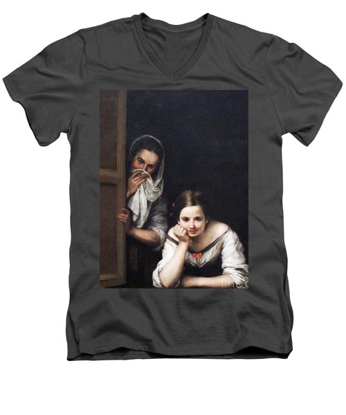 Two Women At Window Men's V-Neck T-Shirt by Pg Reproductions