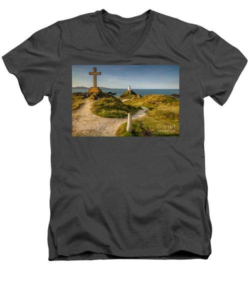 Twr Mawr Lighthouse Men's V-Neck T-Shirt