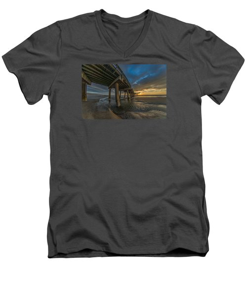 Tybee Island Beach Pier  Men's V-Neck T-Shirt
