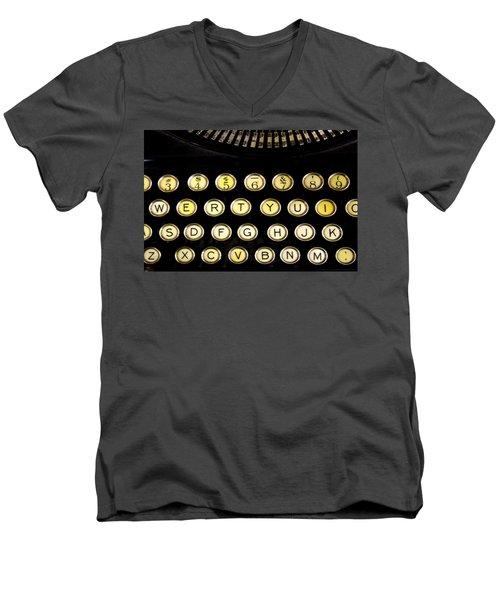 Typewriter Men's V-Neck T-Shirt by Christopher Woods