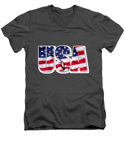 U. S. A. Red White Blue Design Men's V-Neck T-Shirt