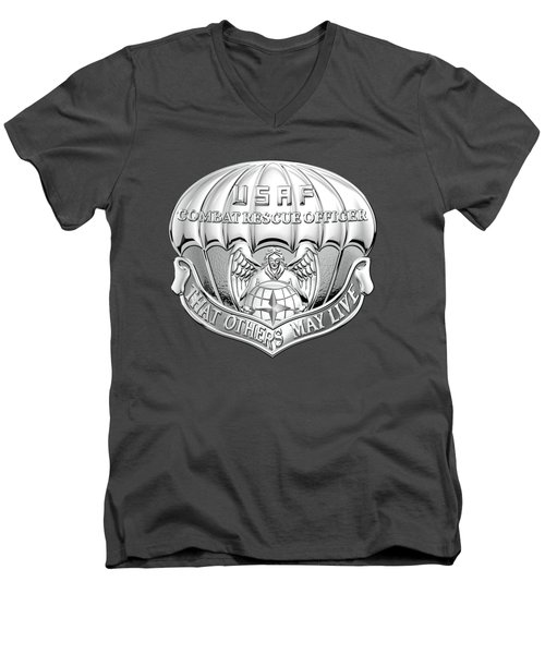 U. S.  Air Force Combat Rescue Officer - C R O Badge Over Blue Velvet Men's V-Neck T-Shirt by Serge Averbukh