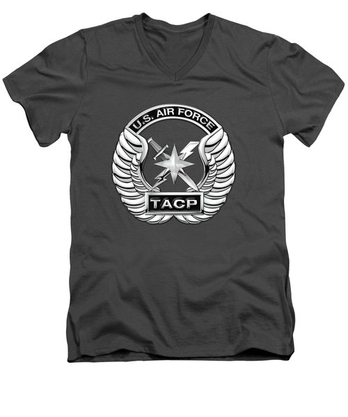 Men's V-Neck T-Shirt featuring the digital art U. S.  Air Force Tactical Air Control Party -  T A C P  Badge Over Blue Velvet by Serge Averbukh