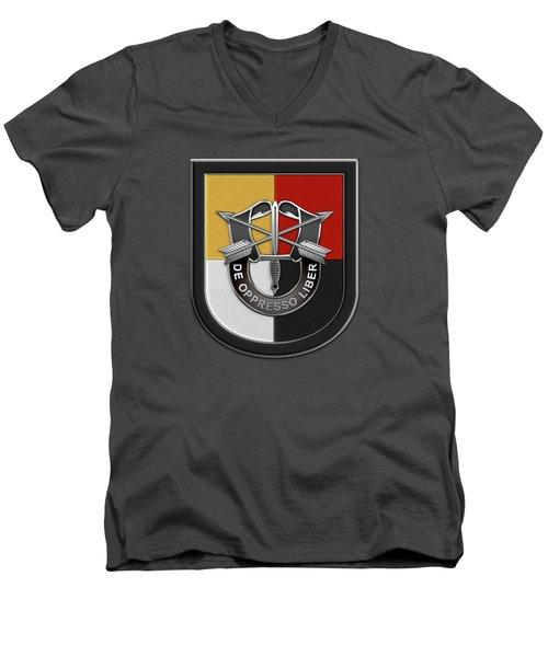 U. S.  Army 3rd Special Forces Group - 3  S F G  Beret Flash Over Green Beret Felt Men's V-Neck T-Shirt
