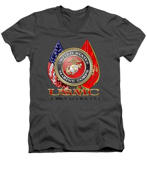 U. S. Marine Corps U S M C Emblem On Red Men's V-Neck T-Shirt by Serge Averbukh