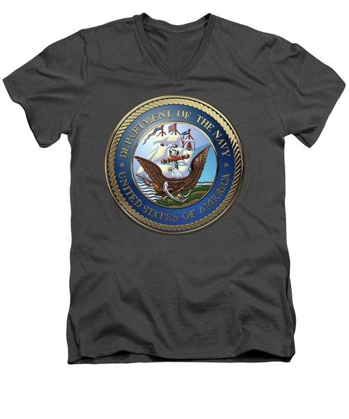U. S.  Navy  -  U S N Emblem Over Red Velvet Men's V-Neck T-Shirt