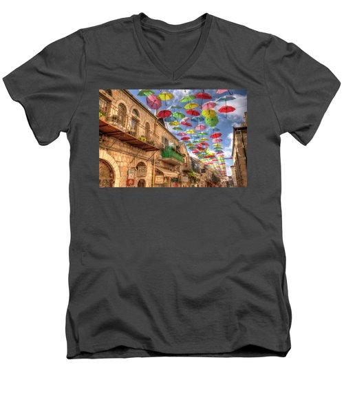 Umbrellas Over Jerusalem Men's V-Neck T-Shirt by Uri Baruch
