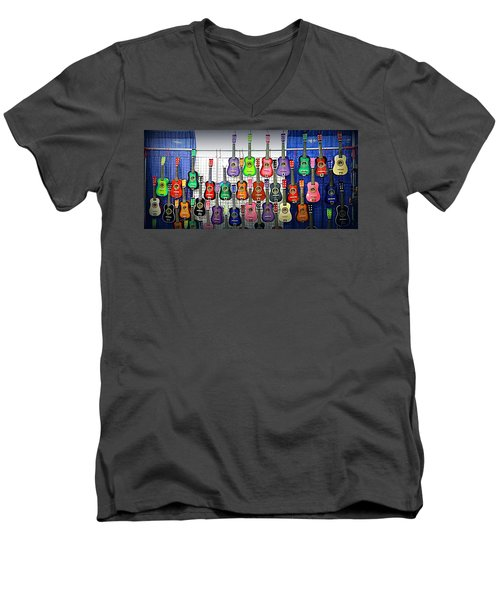 Men's V-Neck T-Shirt featuring the photograph Ukuleles At The Fair by Lori Seaman