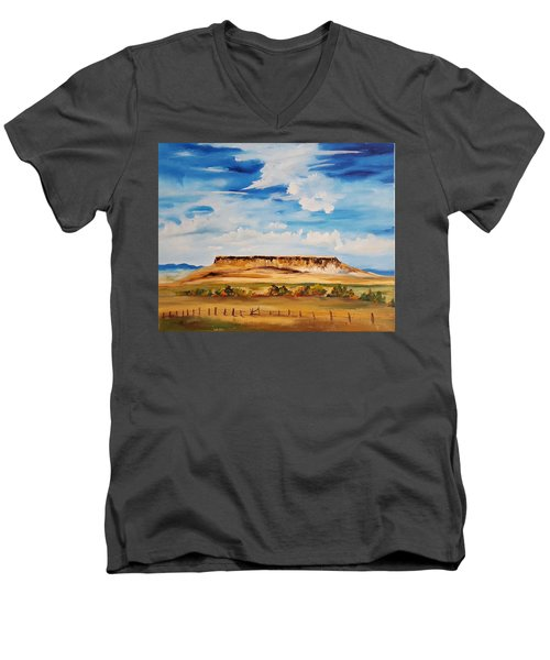 Ulm Montana First People's Buffalo Jump   93 Men's V-Neck T-Shirt