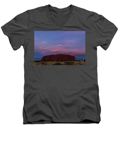 Men's V-Neck T-Shirt featuring the photograph Uluru Sunset 04 by Werner Padarin