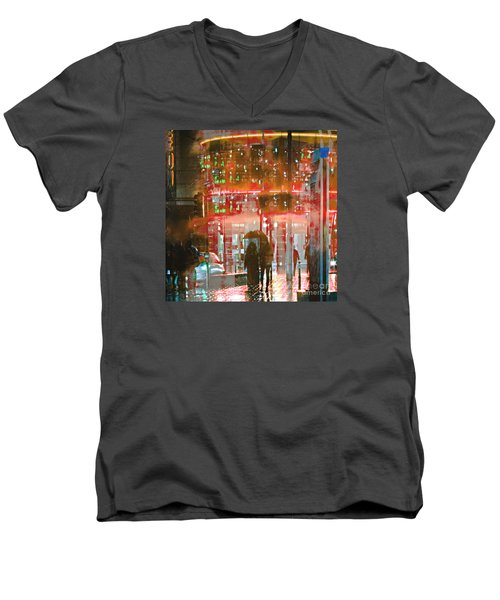 Men's V-Neck T-Shirt featuring the photograph Umbrellas Are For Sharing by LemonArt Photography