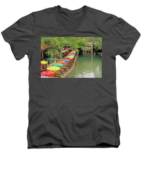 Men's V-Neck T-Shirt featuring the photograph Umbrellas Along River Walk - San Antonio by Art Block Collections
