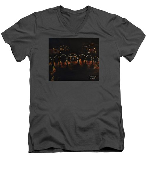 Under A Lighted Bridge In Amsterdam Men's V-Neck T-Shirt