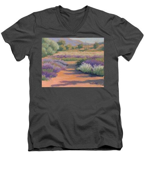 Under A Summer Sun In Lavender Fields Men's V-Neck T-Shirt