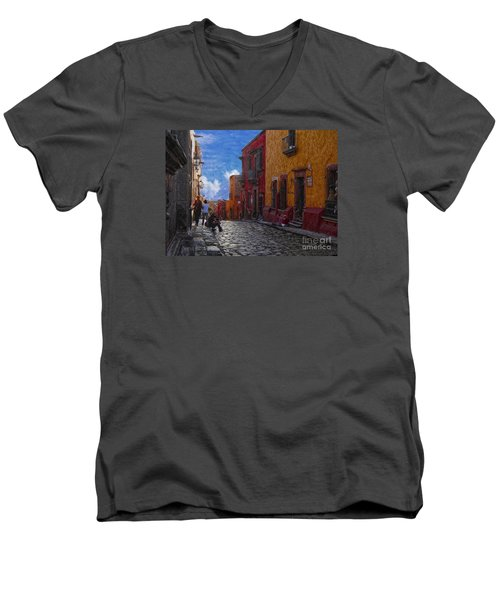 Men's V-Neck T-Shirt featuring the photograph Under A Van Gogh Sky by John Kolenberg