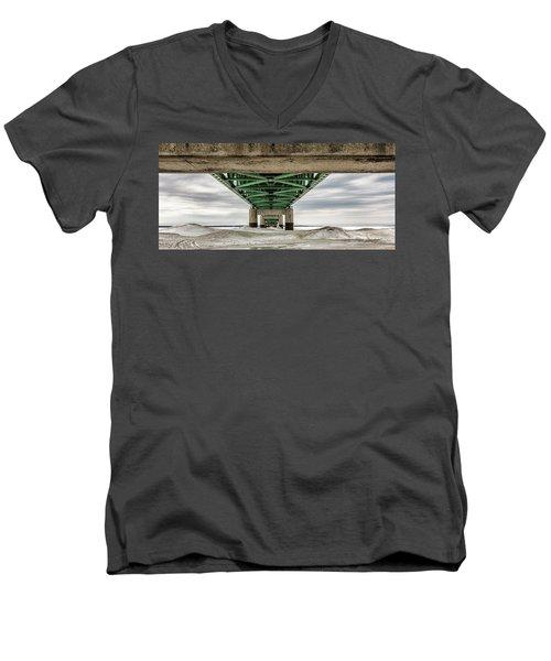 Men's V-Neck T-Shirt featuring the photograph Under Mackinac Bridge Winter by John McGraw