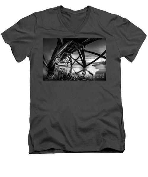 Under Sea Cabin Pier At Sunset Men's V-Neck T-Shirt