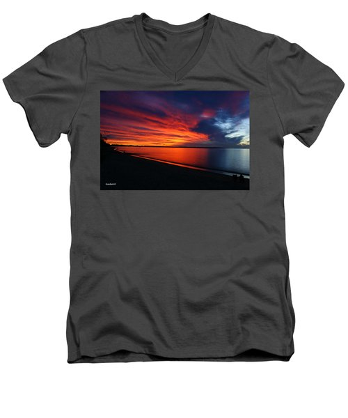 Men's V-Neck T-Shirt featuring the photograph Under The Blood Red Sky by Gary Crockett
