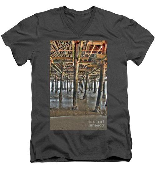 Men's V-Neck T-Shirt featuring the photograph Under The Boardwalk Pier Sunbeams  by David Zanzinger