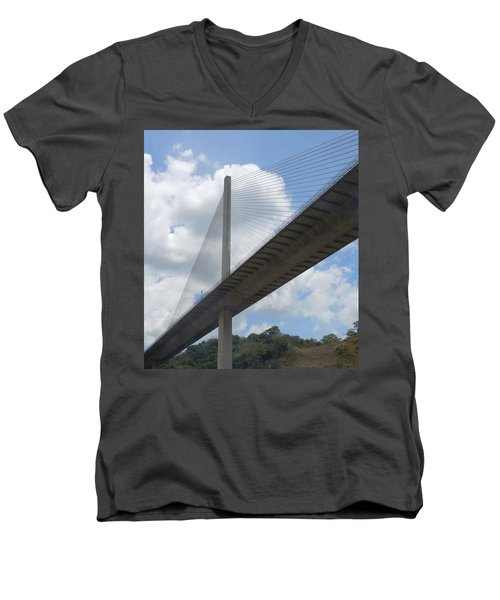 Under The Bridge Through Panama Men's V-Neck T-Shirt by Karen J Shine