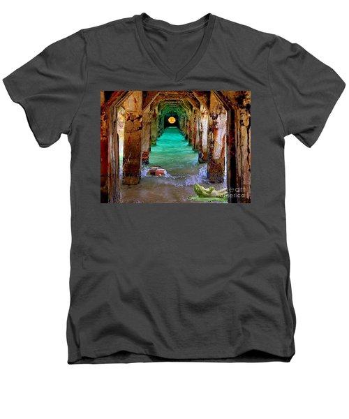 Under The Broadwalk Men's V-Neck T-Shirt by Mojo Mendiola