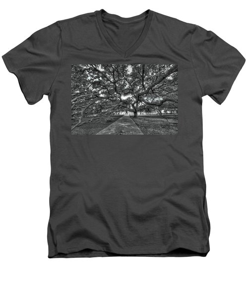 Under The Century Tree - Black And White Men's V-Neck T-Shirt