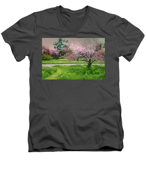 Men's V-Neck T-Shirt featuring the photograph Under The Cherry Tree by Diana Angstadt