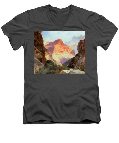 Under The Red Wall Men's V-Neck T-Shirt by Thomas Moran